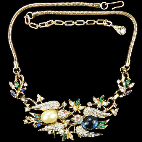 Corocraft 'Lovebirds' Golden Flowers Birds and Bees Choker Necklace