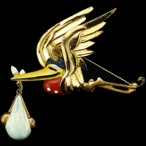 Coro Walt Disney 'Dumbo' Jewelry Gold and Enamel Flying Stork Delivering Baby Dumbo Pin