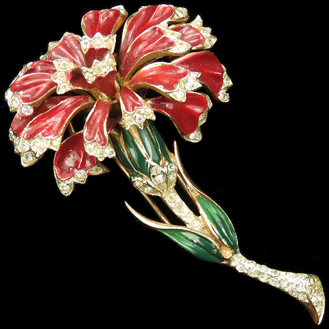 Corocraft Sterling Gold Pave and Enamel Red Carnation Flower Pin Clip