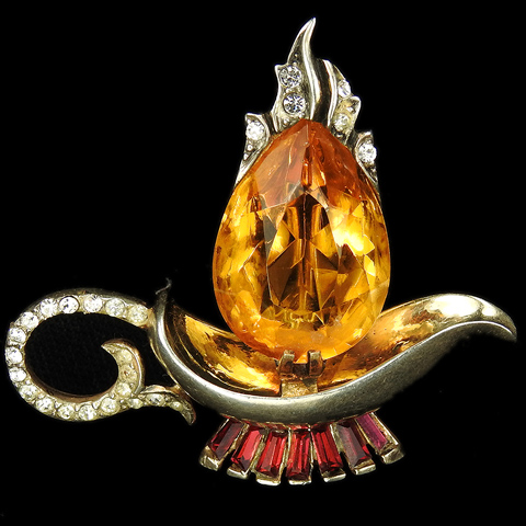Corocraft Sterling Gold Pave Ruby Baguettes and Citrine Flame 'Aladdin's  Lamp' Pin
