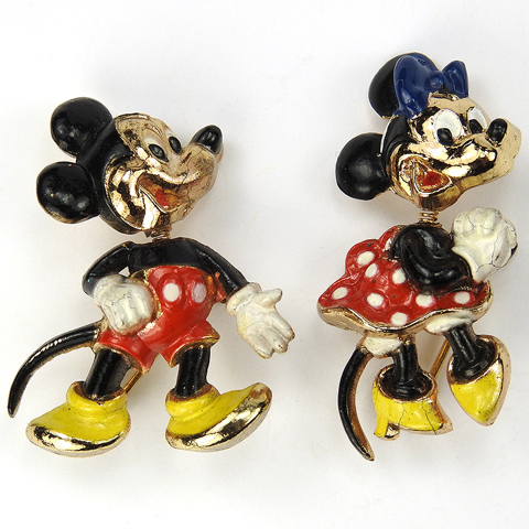 Coro Walt Disney Jewelry Pair of Mickey Mouse and Minnie Mouse Trembler Pins