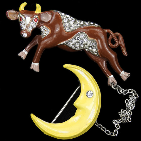 Coro Pave and Enamel Nursery Rhyme 'Cow Jumped over the Moon' Chatelaine Pins