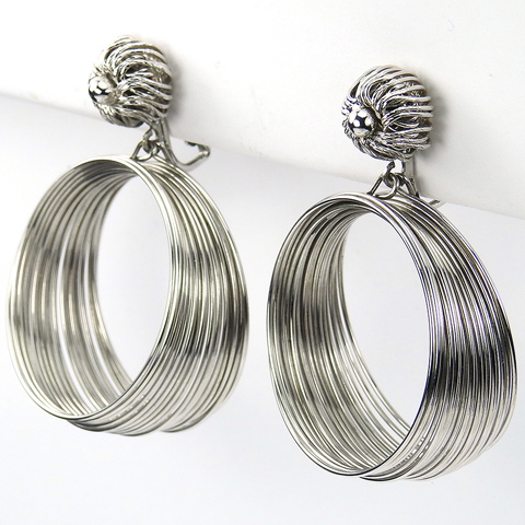 Vendome Circular Coiled Silver 'Hot Springs' Pendant Clip Earrings