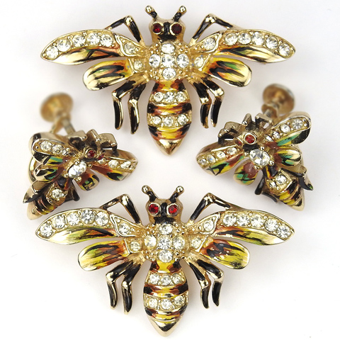 Coro Gold Pave and Enamel 'Queen Bees' Pair of Pins and Screwback Earrings Set