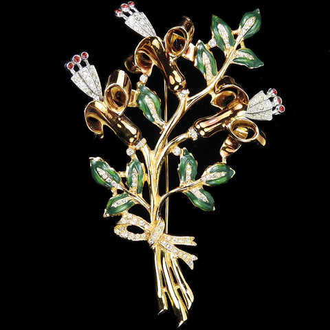 Coro Gold Pave and Enamel Giant Trembler Triple Lily Flower Pin