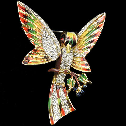 Corocraft Sterling Gold Pave and Enamel Stylized Love Bird on Branch Flapping its Wings Pin