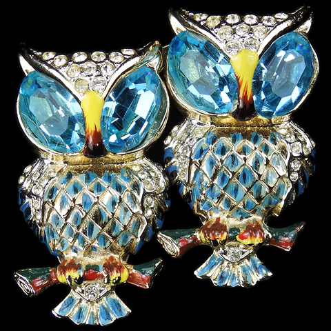 Coro Gold Pave Aquamarines and Enamel 'Hoots' Owl Bird Pin Clip Duette