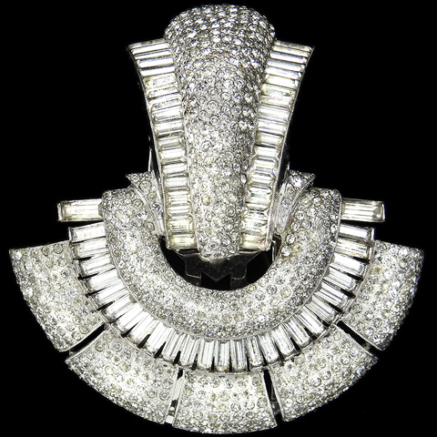 Coro Pave and Baguettes Semicircle Arched Deco Doorknocker Dress Clip or Pin