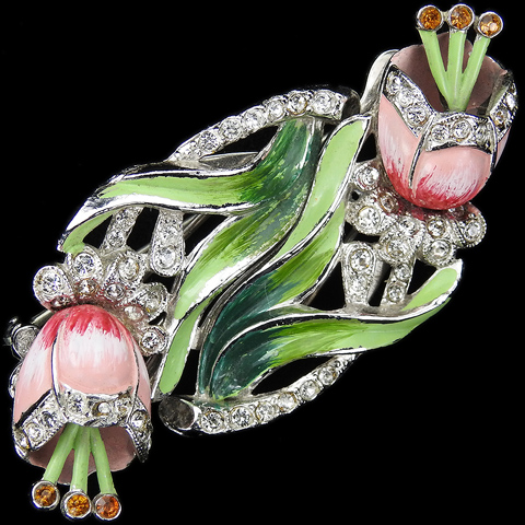 Coro 'Gene Verrecchio' 'Made in Canada' Pave and Enamel Tulips Flower Duette