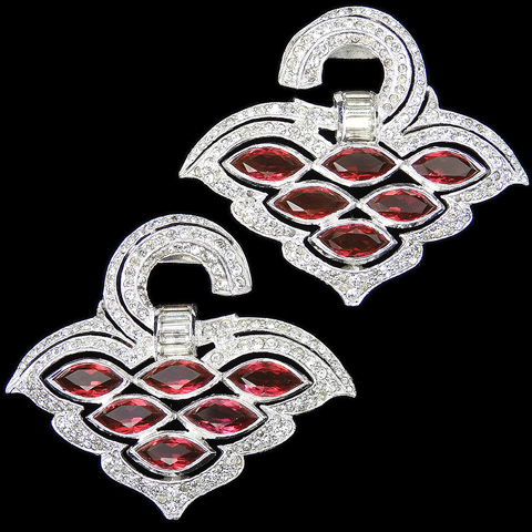 Coro (unsigned) Deco Pair of Pave Baguettes and Ruby Chatons Doorknocker Dress Clips
