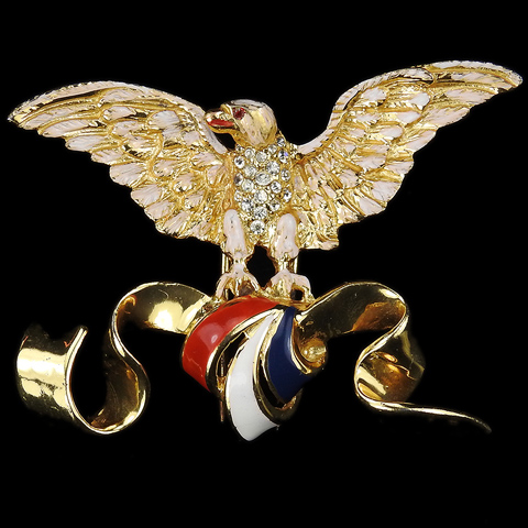 Corocraft Sterling WW2 US Patriotic Flying Eagle with Red White and Blue Bow Pin