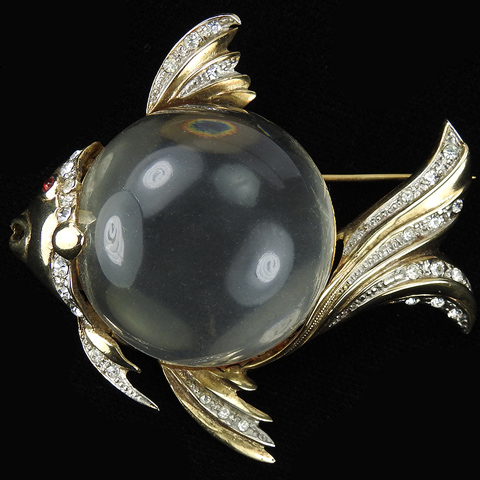 Corocraft Sterling Gold and Pave Jelly Belly Angel Fish Pin