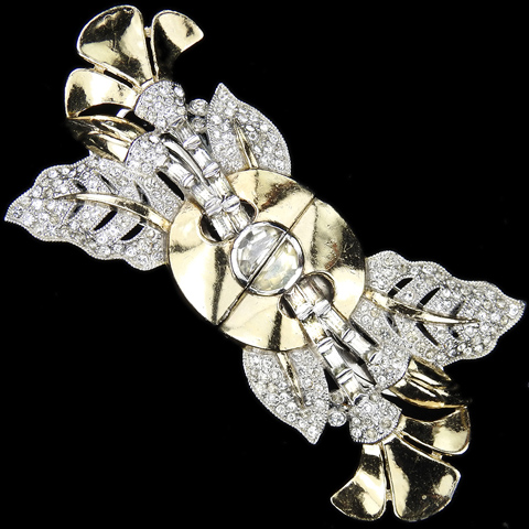 Coro Gold Pave Demilunes and Baguettes Flowers and Leaves Dress Clips Duette