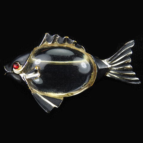Coro Gold and Black Enamel Jelly Belly Fish Pin