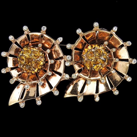 Corocraft Sterling Gold Spangles and Citrines Double Spiral Seashells Duette