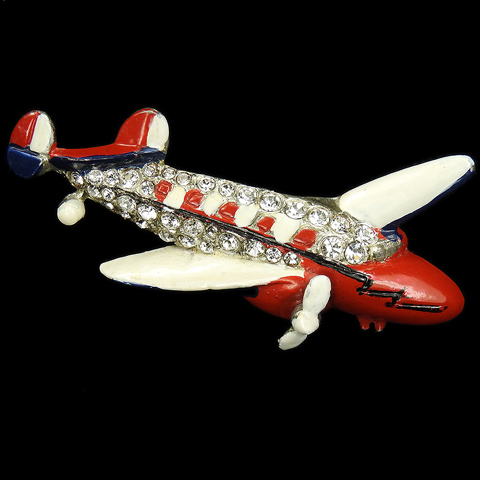 Coro Pave US Patriotic Red White and Blue Enamel and Baguettes Amelia Earhart Lockheed Electra Airplane Pin