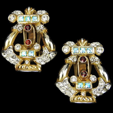 Coro Gold Pave and Multicolour Stones Gilded Lyre or Harp Musical Instrument Clip Earrings