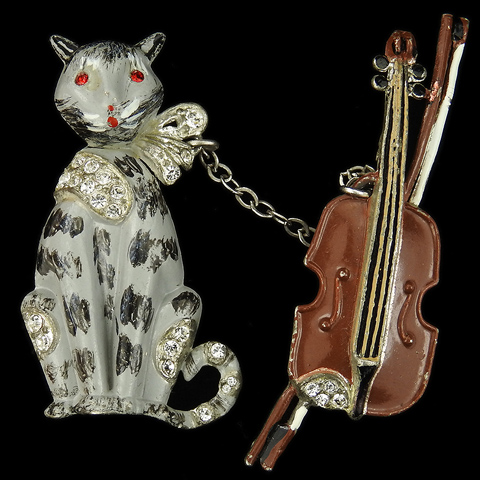 Coro Pave and Enamel Nursery Rhyme 'Cat and The Fiddle' Chatelaine Pins