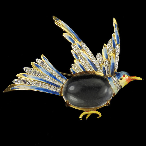 Corocraft Sterling Pave and Enamel Jelly Belly Grouse Flying Bird Pin