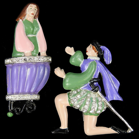 Coro 'Adolph Katz' Juliet on a Balcony and Romeo On One Knee Theatre Scene Pair of Pin Clips