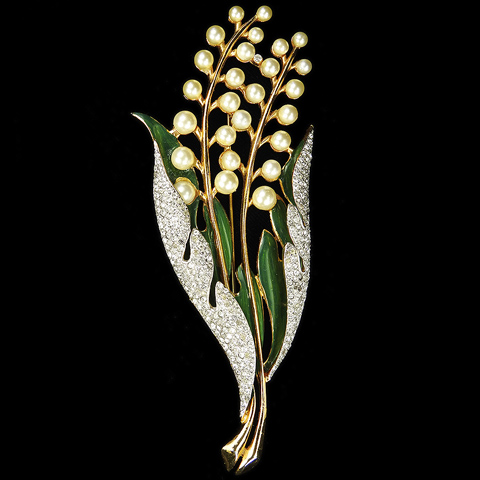 Coro 'Gene Verrecchio' Pave Enamel and Pearls Giant Lily of the Valley Flower Pin
