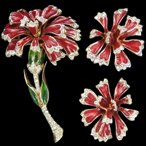 Corocraft Sterling Gold Pave and Enamel Red Carnation Flower Pin Clip and Screwback Earrings Set