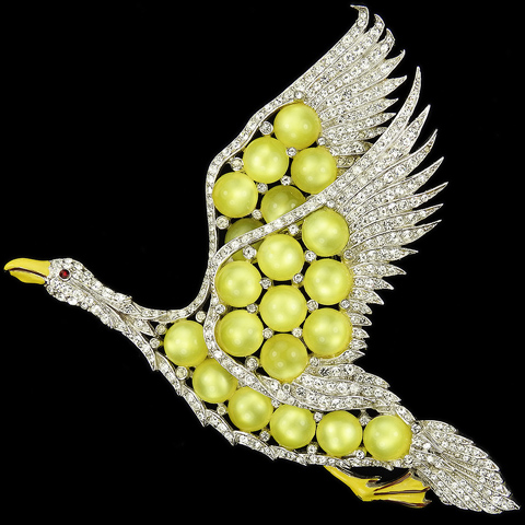 Coro 'Gene Verrecchio' Pave Enamel and Yellow Moonstone Giant Goose in Flight Pin