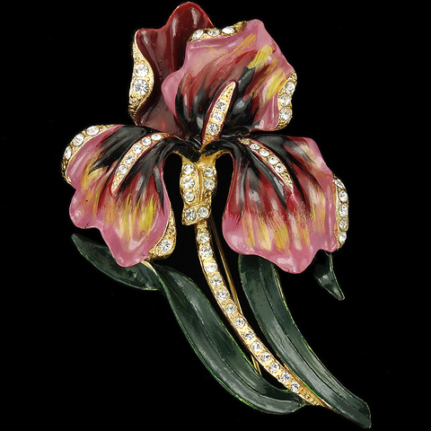 Coro Gold Pave and Enamel Giant Lily Flower Pin