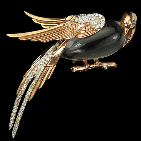 Corocraft Sterling Gold and Pave Jelly Belly Pheasant Bird Pin