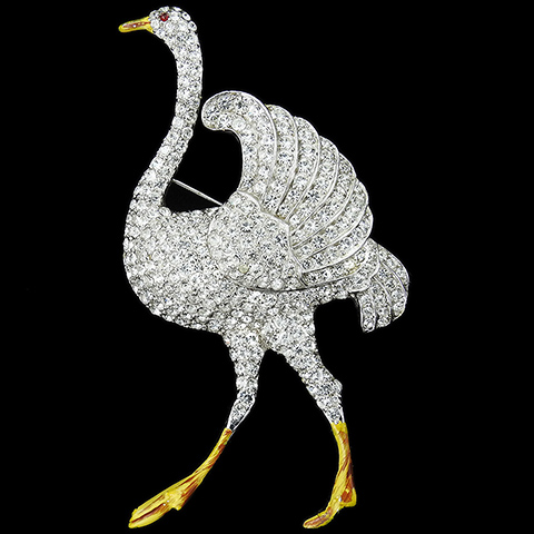 Coro Pave and Enamel Giant Ostrich Bird Pin
