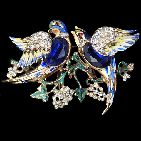 Corocraft Sterling 'Bill and Coo' Sapphire Belly Lovebirds Bird Duette