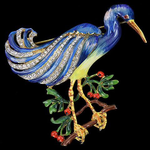 Corocraft Sterling Gold Pave and Enamel Crane Perching on a Branch with Berries Bird Pin