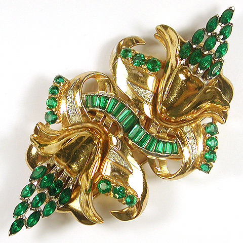 Coro Gold Pave and Emeralds Double Orchid Flower Duette