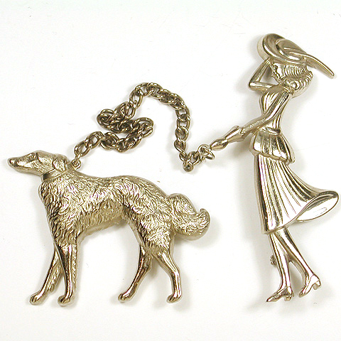 Coro Lady Walking her Dog Silver Chatelaine Pins