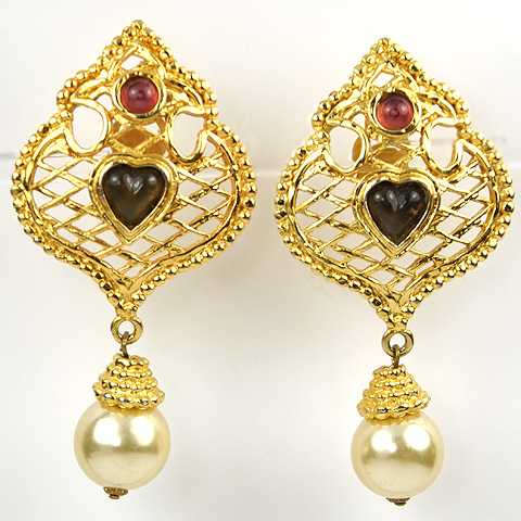 Edouard Rambaud Paris Moorish Lattice with Heart and Pendant Pearl Clip Earrings