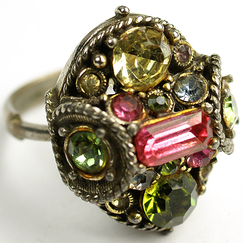 Hollycraft Pastel Stones Adjustable Finger Ring