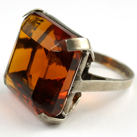 EA Bennet Deco Sterling and Table Cut Topaz Finger Ring