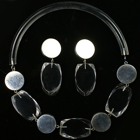 Judith Hendler Transparent Lucite Lozenges and Mexican Sterling Choker Necklace and Pendant Clip Earrings
