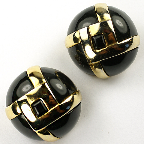 Lanvin Paris Gold and Onyx Interlock Pattern Button Clip Earrings