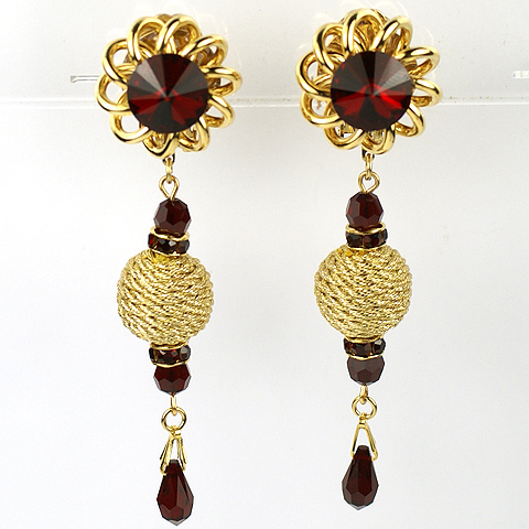 Mina Designs Gold and Ruby Pendant Coiled Globes Clip Earrings