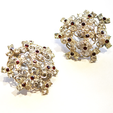 Kramer of New York Pave and Garnet Highlights Floral Cluster Clip Earrings