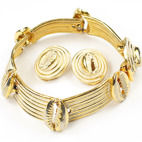 Mosell Gold and White Enamel Cowrie Shells Link Bracelet and Clip Earrings Set