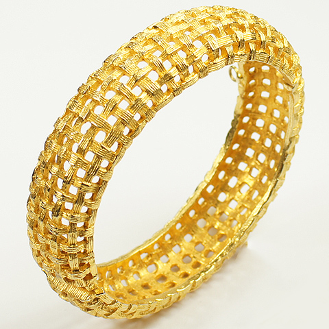 Pauline Rader Golden Basketweave Bangle Bracelet