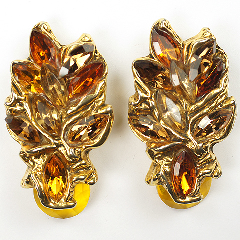 Kalinger Paris Heavy Gold Citrine and Topaz Leaf Clip Earrings