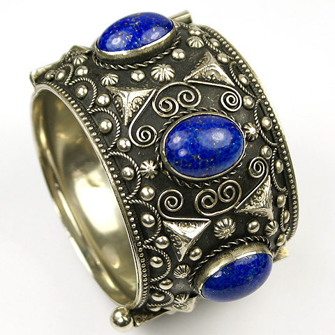 Made in Italy Florentine Etruscan Style Silver and Lapis Jewels of Fantasy Bangle Bracelet