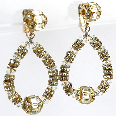 Vogue Jewelry Gold Baguettes and Poured Glass Pendant Hoops Clip earrings