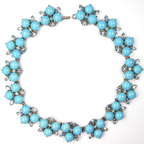 Roger Jean Pierre Aquamarine Navettes and Turquoise Cabochons Choker Necklace