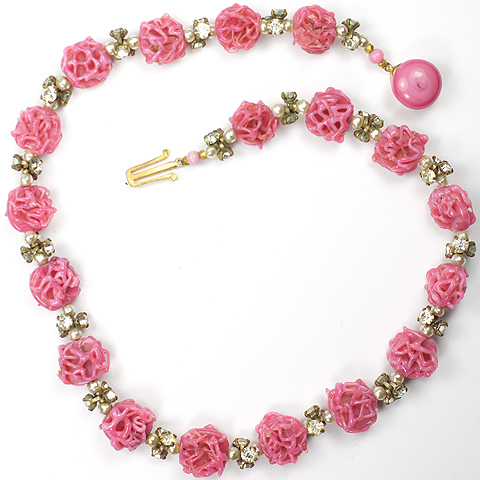 Made in France Pink Poured Glass Clusters Spangles and Pearls Choker Necklace