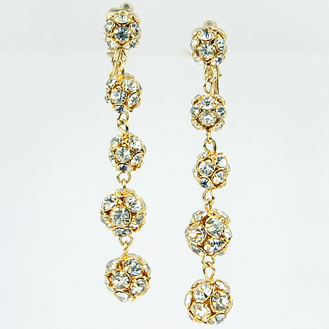 Kramer Golden Buckyballs Five Element Pendant Clip Earrings