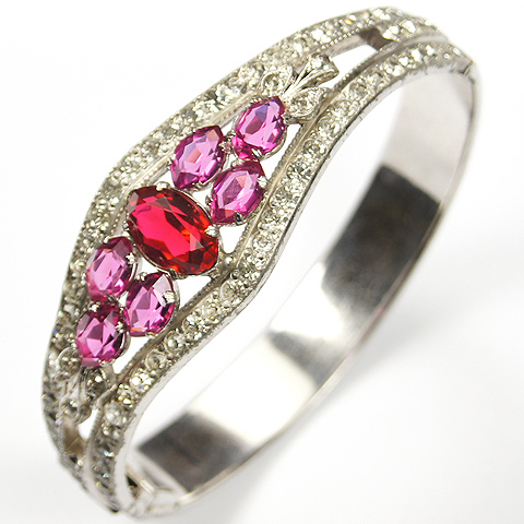 Allco (AL Lindroth) Pave Pink Topaz and Ruby Deco Hinged Bangle Bracelet